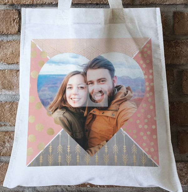 All That Shimmers Photo Upload Heart Tote Bag