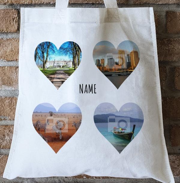 Hearts Photo Upload Personalised Tote Bag