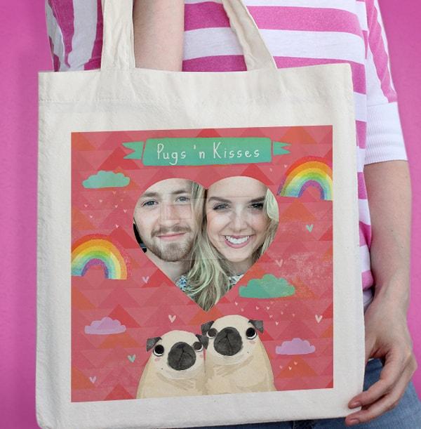 Pugs 'n Kisses Photo Tote Bag