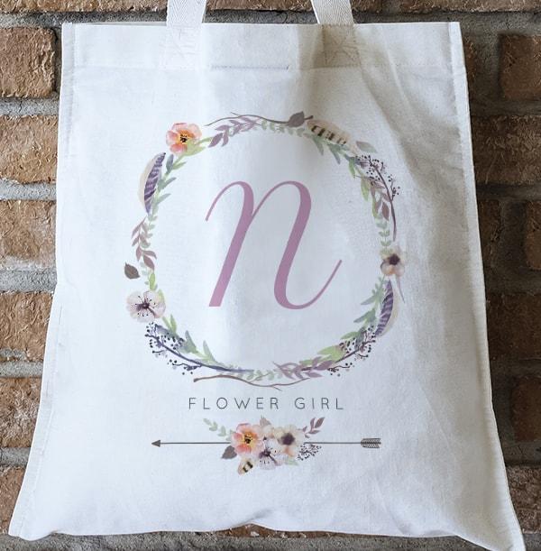 Boho Flower Girl Personalised Tote Bag