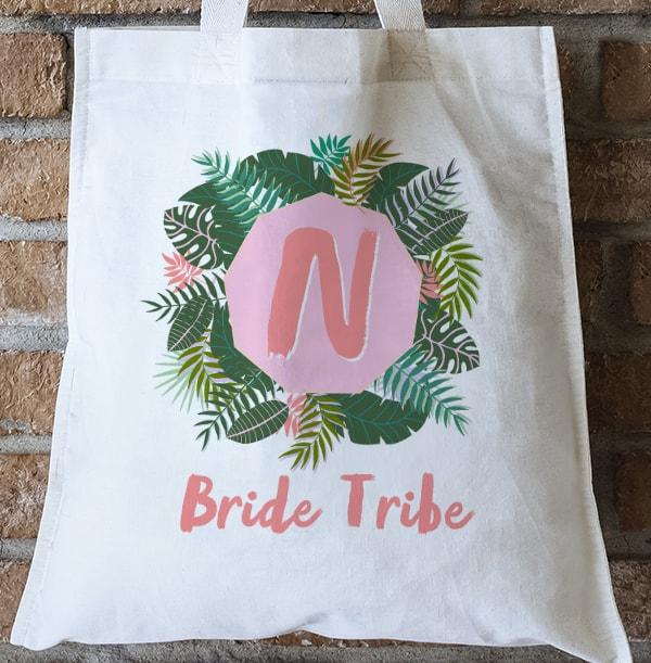 Bride Tribe Initial Personalised Tote Bage