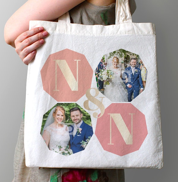 Couple's Initials Photo Tote Bag