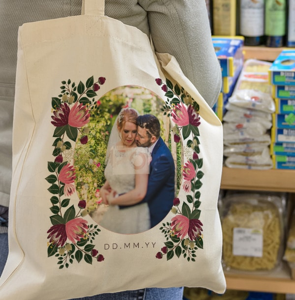 Floral Wedding Photo & Date Tote Bag