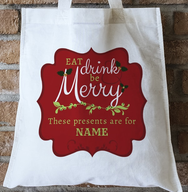 Eat Drink & Be Merry Personalised Tote Bag