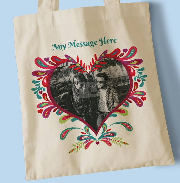Folklore Heart Personalised Photo Tote Bag