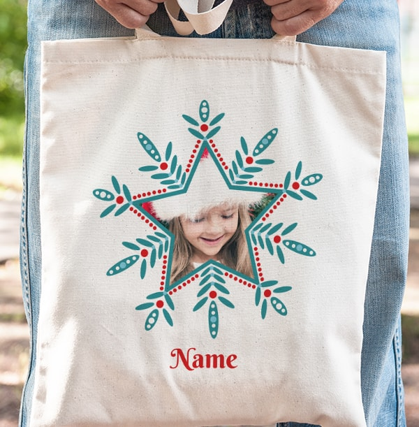 Snowflake Personalised Photo Tote Bag