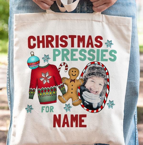 Christmas Pressies Personalised Tote Bag