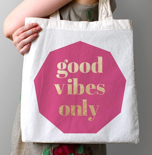 Good Vibes Personalised Tote Bag