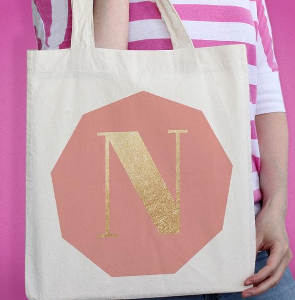 Gold Initial Personalised Tote Bag