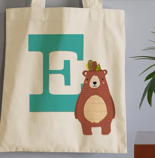 Boys Initial Personalised Tote Bag