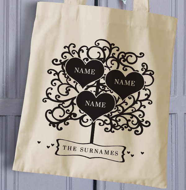 Family Of 3 Personalised Tote Bag