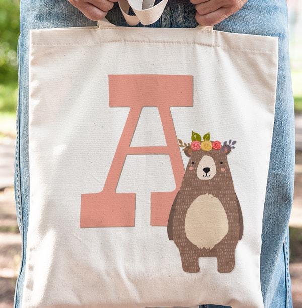 Girls Initial Personalised Tote Bag