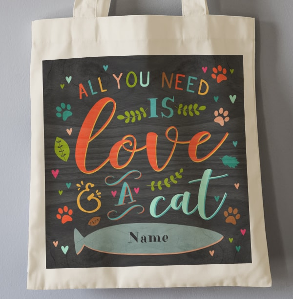 Love and Cats Personalised Tote Bag
