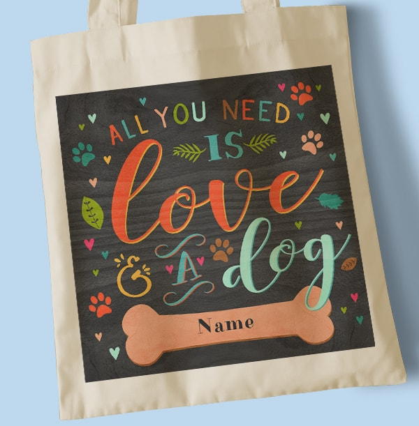Love and Dogs Personalised Tote Bag