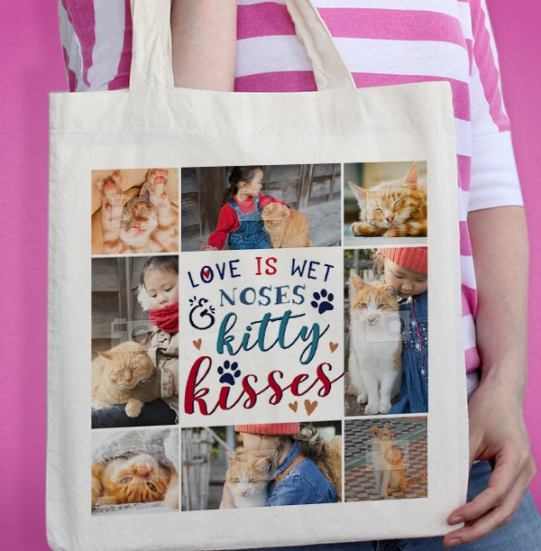 Kitty Kisses Multi Photo Tote Bag