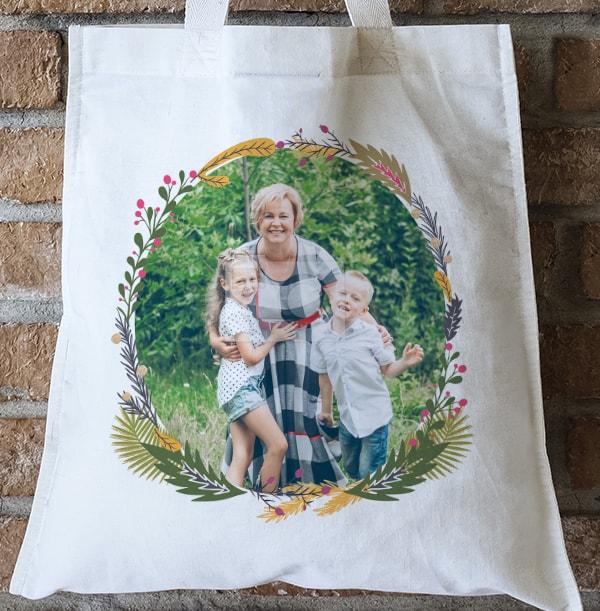 Personalised Photo Wreath Tote Bag