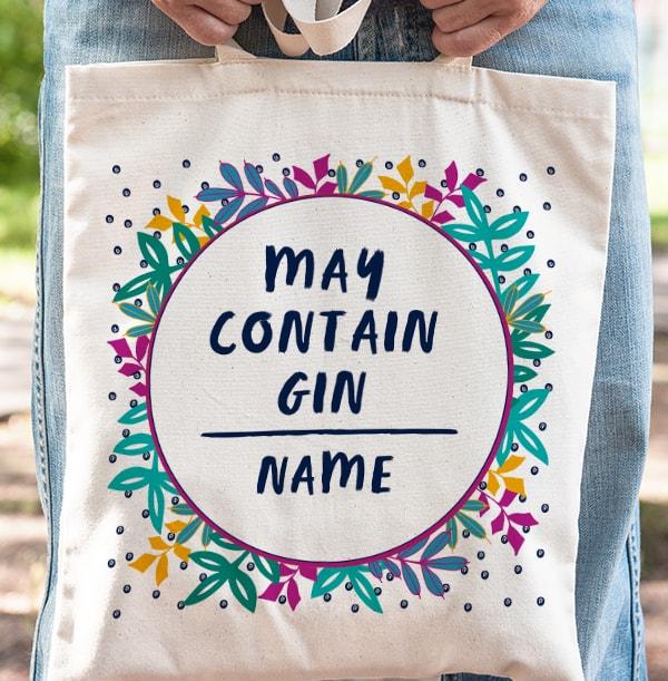 May Contain Gin Personalised Tote Bag