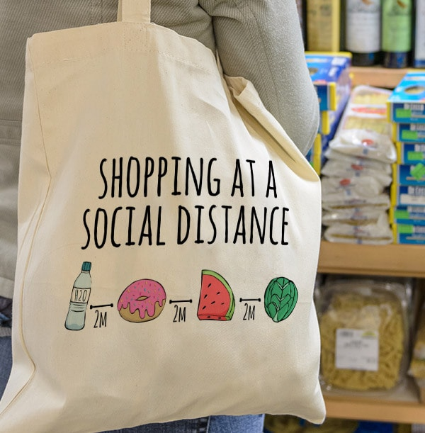 Social Distance Shopping Personalised Tote Bag