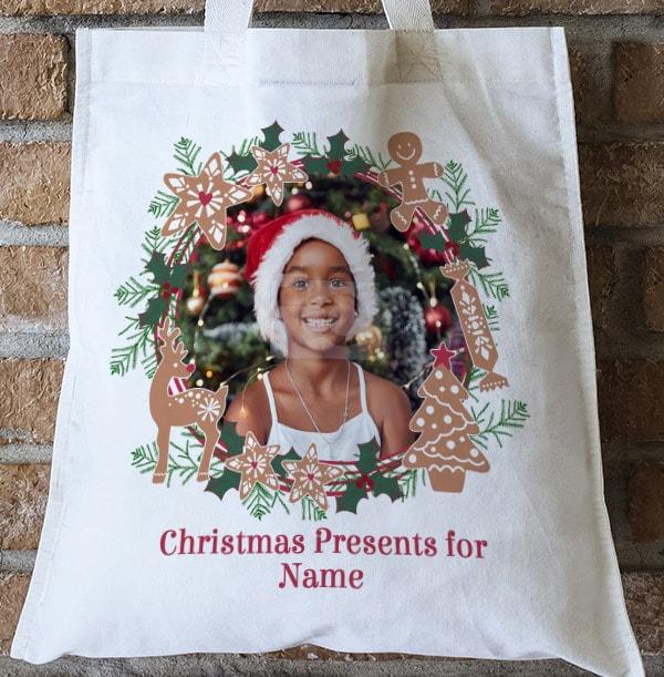 Photo Christmas Wreath Personalised Tote Bag