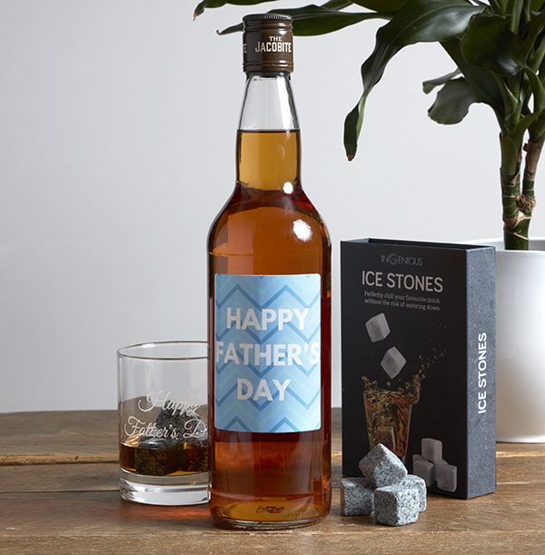 Whisky Stones, Glass & Bottle - Father's Day Set