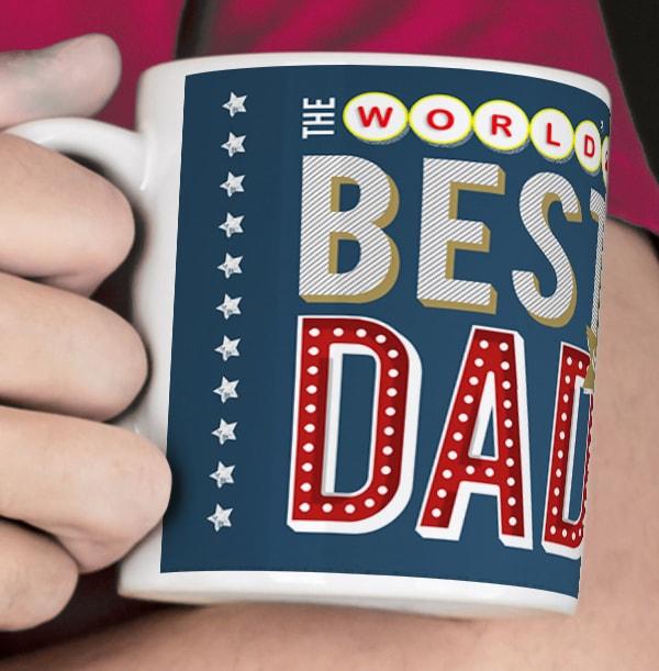 World's Best Dad Name in Lights Mug