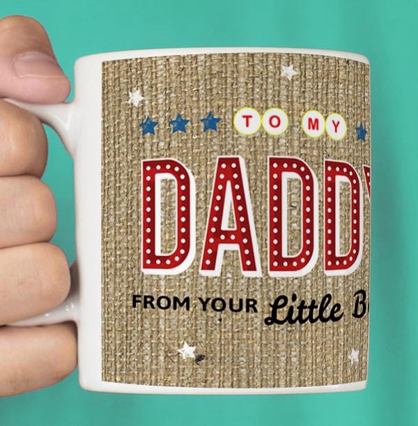 Daddy Name in Lights Personalised Mug