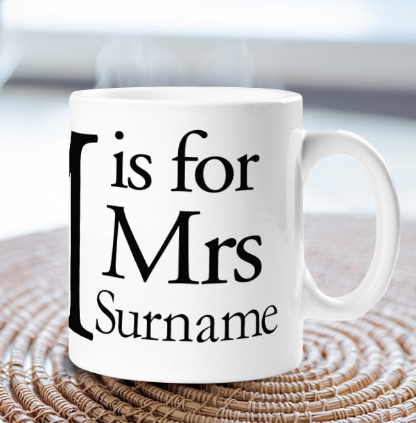 M is for Mrs Personalised Mug