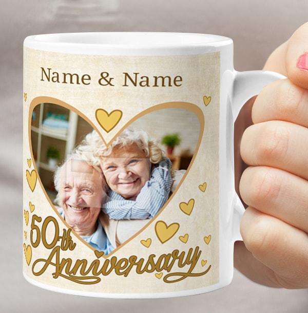 50th Wedding Anniversary Personalised Photo Mug