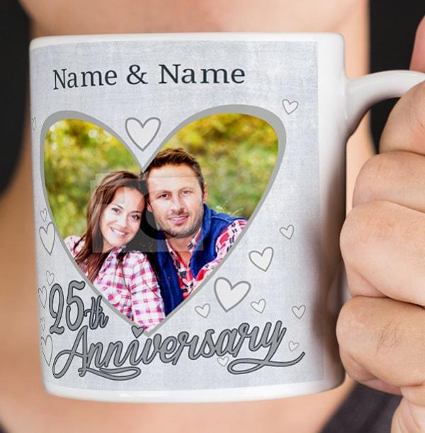 25th Wedding Anniversary Personalised Photo Mug