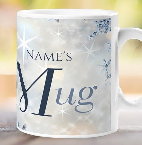 Personalised Sparkly Snowflake Mug