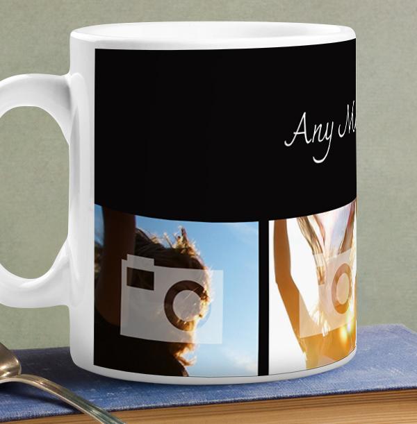 Personalised Mug - 4 Multi Photo Upload Bottom with Text Black