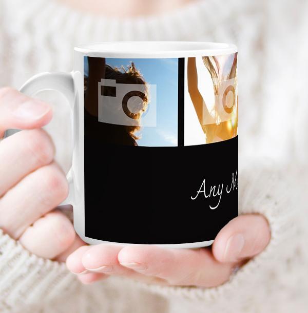 Personalised Mug - 4 Multi Photo Upload Top with Text Black