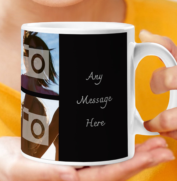 Personalised Mug - 6 Multi Side Photo Upload with Text Black