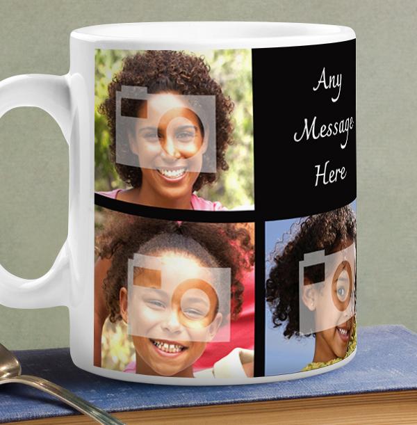 Personalised Mug - 7 Multi Photo Upload with Text Black