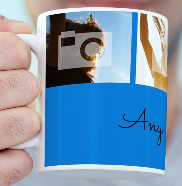 Personalised Mug - 4 Multi Photo Upload with Text Blue