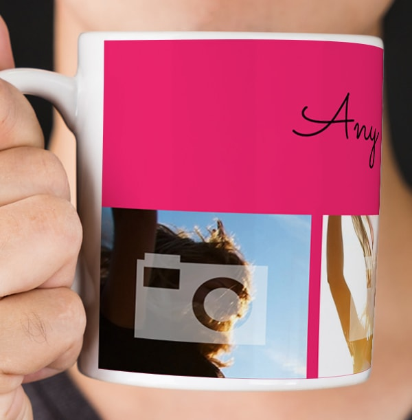 Personalised Mug - 4 Multi Photo Upload Bottom with Text Pink