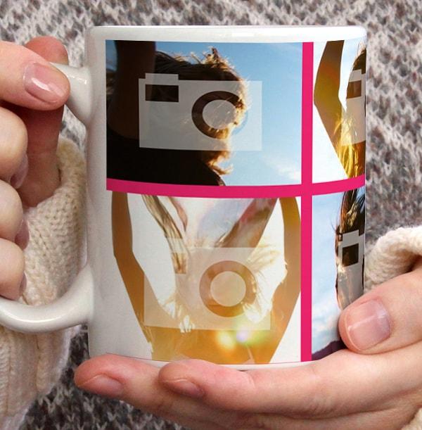Personalised Mug - 6 Multi Photo Upload with Text Pink