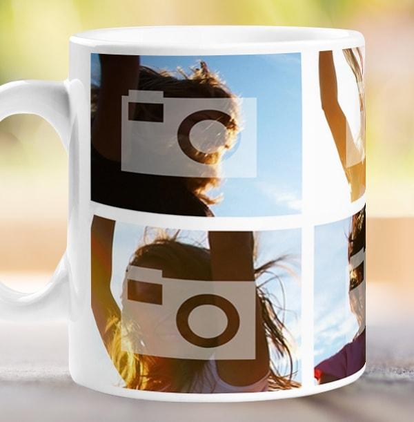 Personalised Mug - 4 Multi Side Photo Upload with Text White