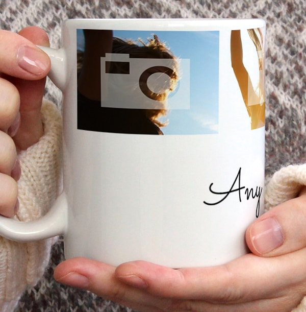 Personalised Mug - 4 Multi Photo Upload Top with Text White