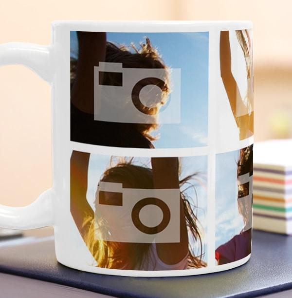 Personalised Mug - 6 Multi Side Photo Upload with Text White