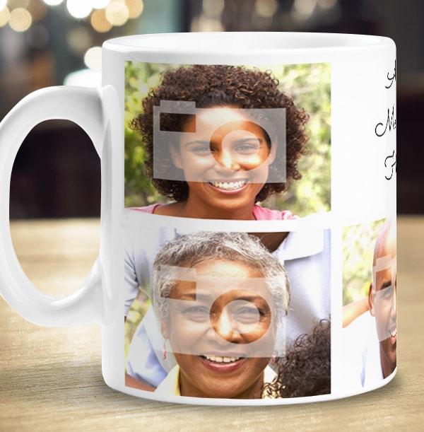 Personalised Mug - 7 Multi Photo Upload with Text White
