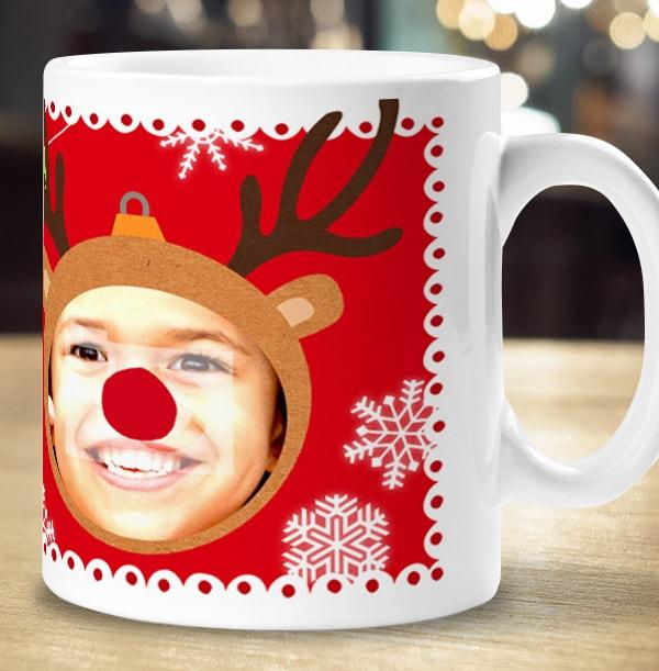 Personalised Rudolph Reindeer Photo Mug