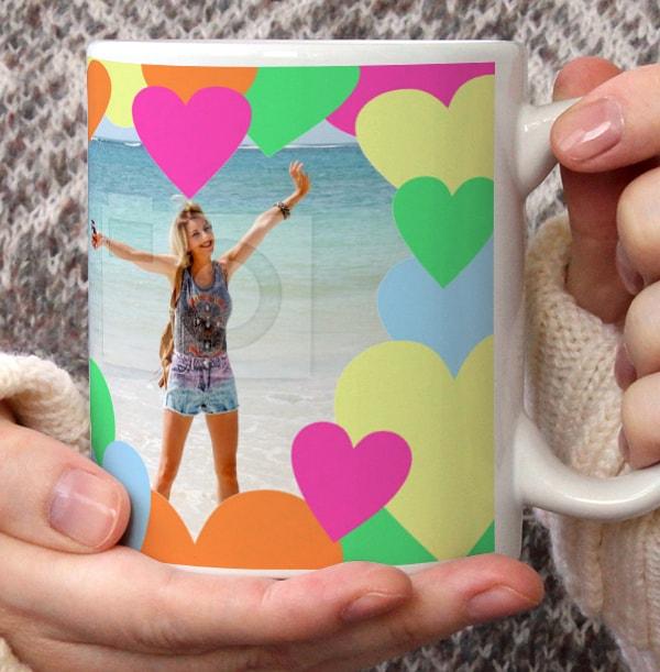 Colourful Hearts Personalised Mug