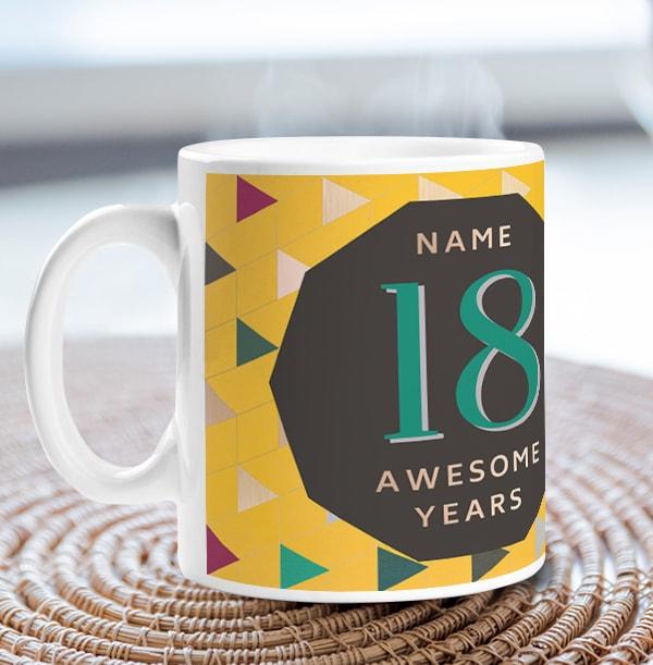 18 Awesome Years Male Photo Mug