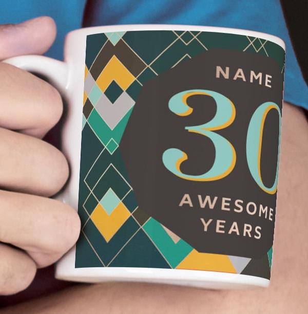 30 Awesome Years Male Photo Mug