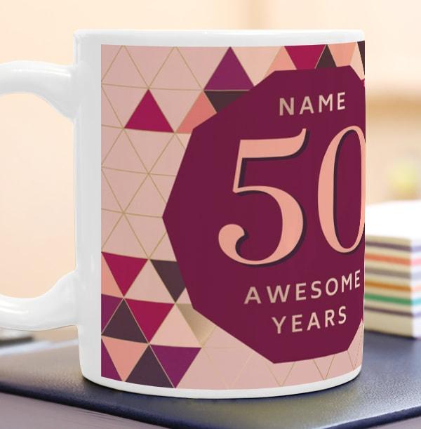 50 Awesome Years Female Photo Mug