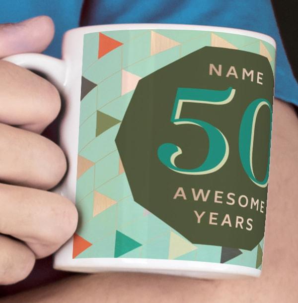 50 Awesome Years Male Photo Mug
