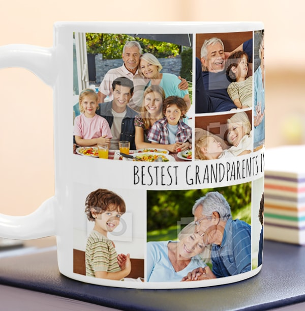 Bestest Grandparents Photo Collage Mug