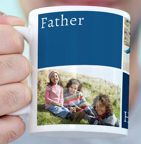 3 Photo & Colour Blocks Personalised Mug
