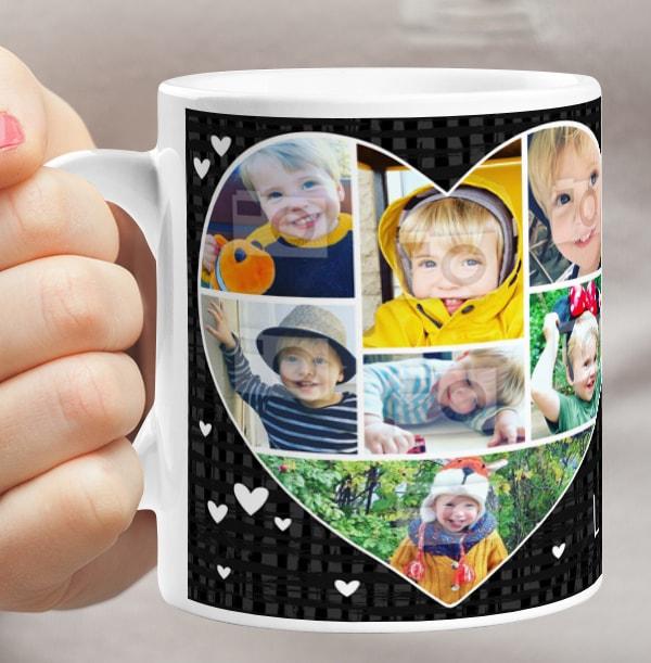 Heart Photo Collage Mug